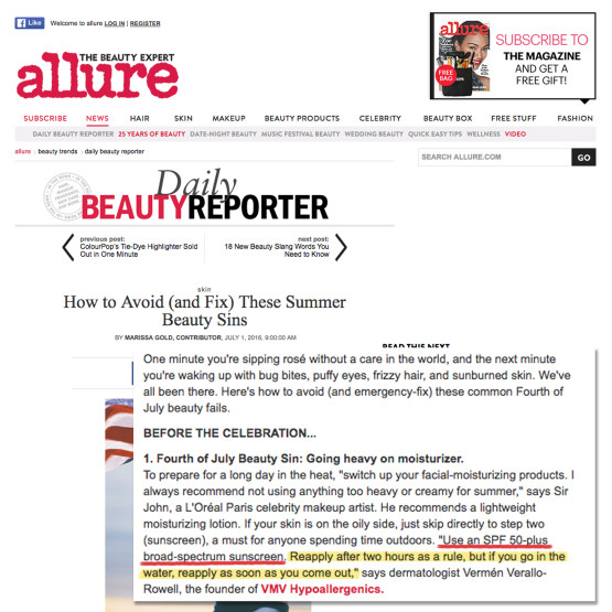Our Founding M.D On Sunscreen Tips - Allure