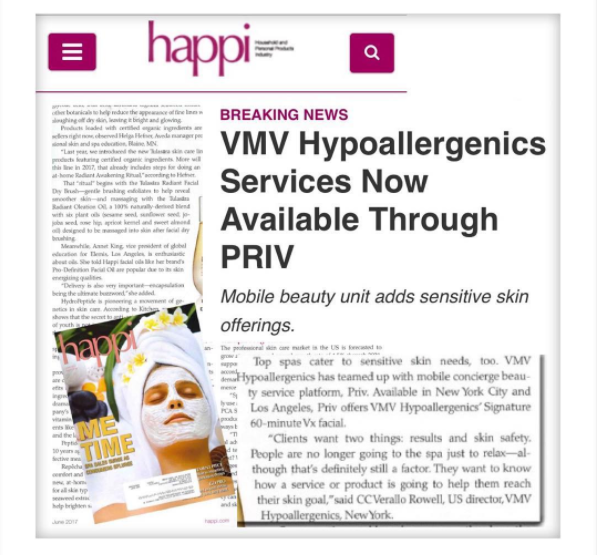 VMV Hypoallergenic Services in PRIV - Happi Magazine